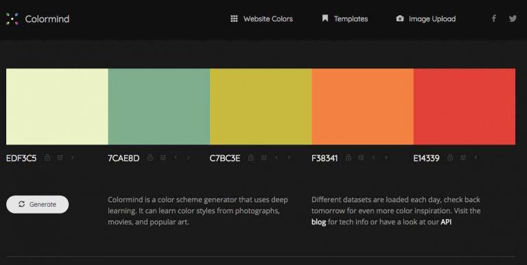 La PALETA de COLOR armonizada en nuestros diseños WEB gracias a COLORMIND